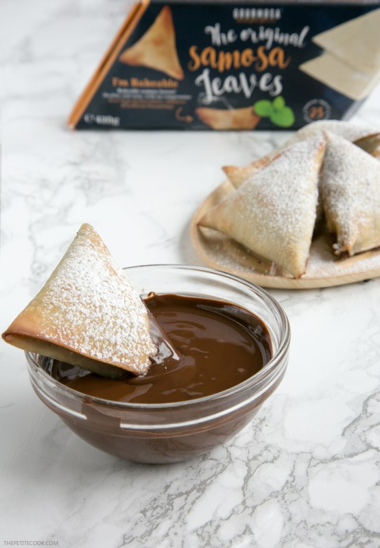 Chocolate filled samosa