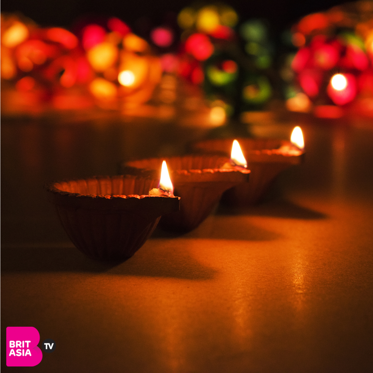 Diyas lit on Diwali
