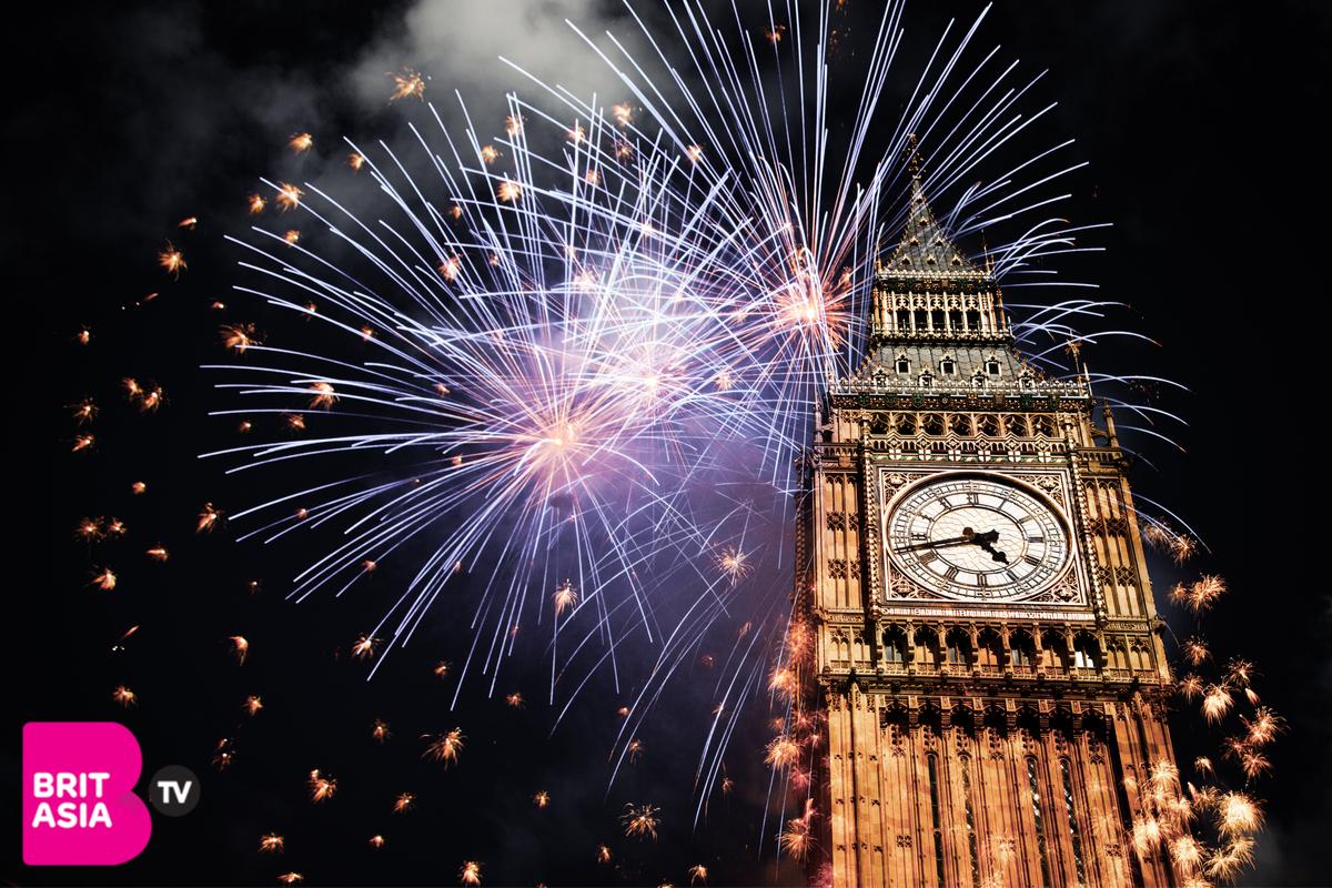 Fireworks behind Big Ben