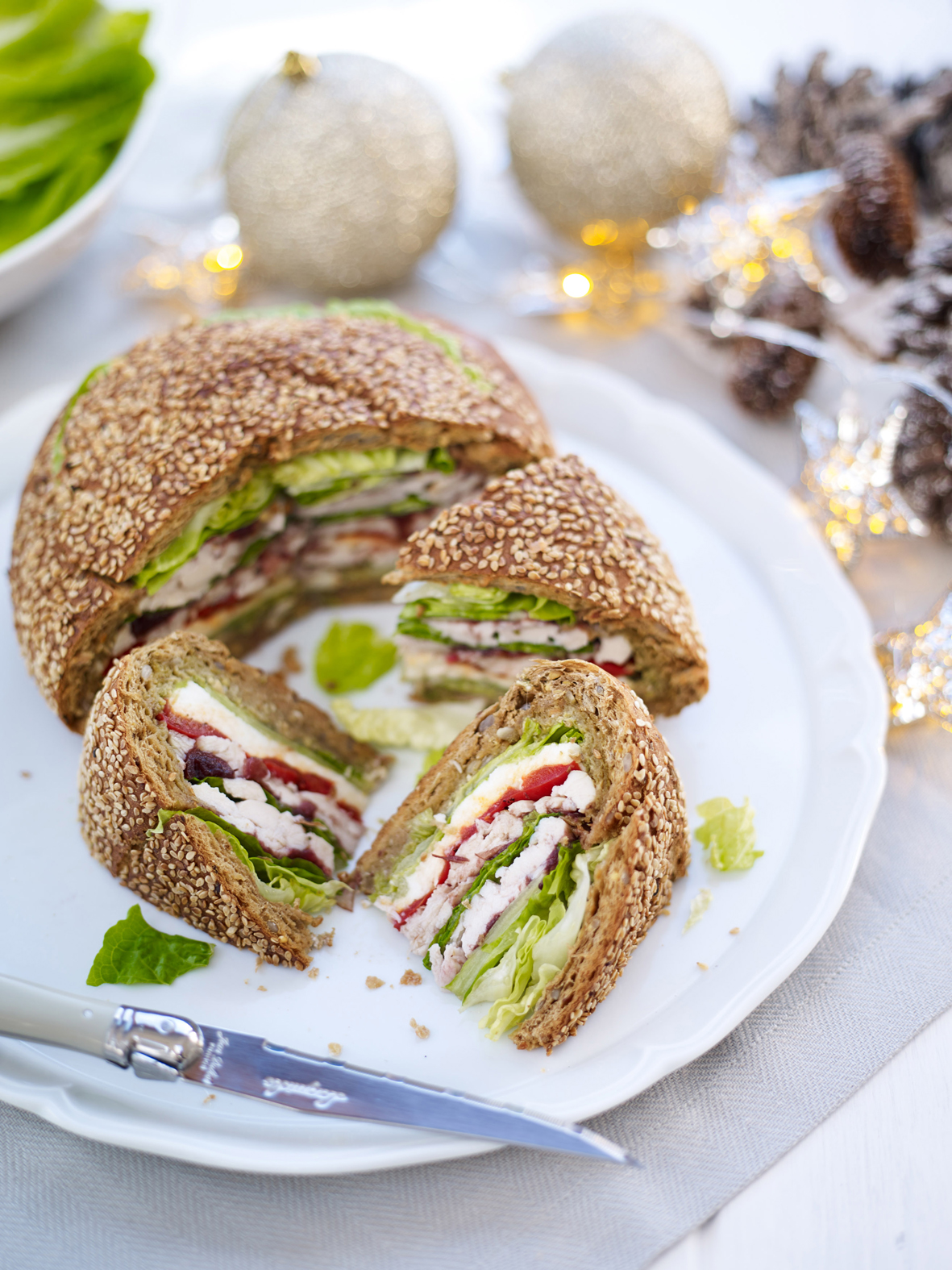 Turkey and Mozzarella Christmas Sandwich Loaf