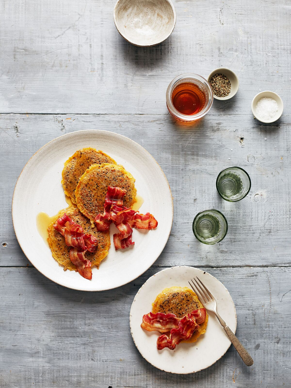 Quinoa Pancakes with Crispy Bacon and Maple Syrup