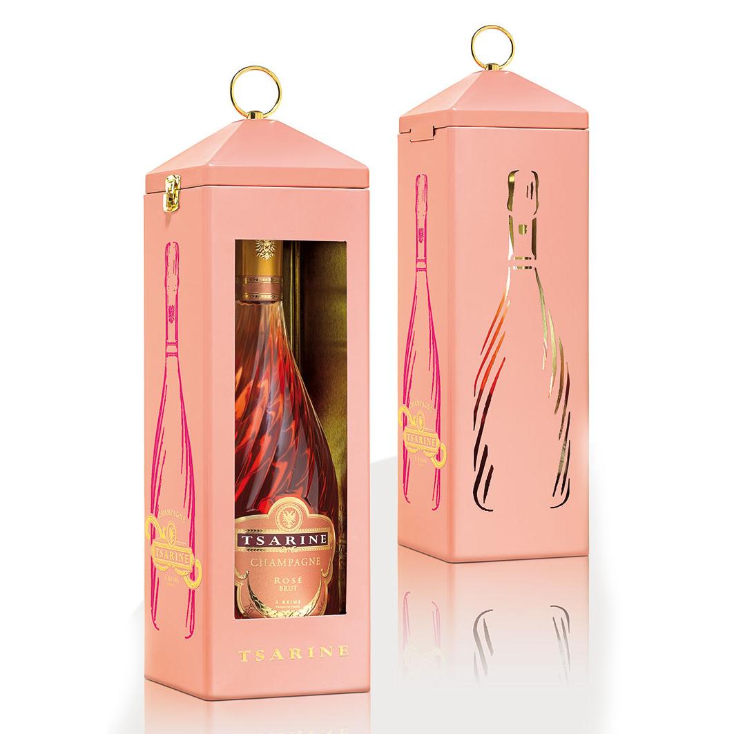 Tsarine Rose NV 75cl Champagne Tin Lantern Gift Set