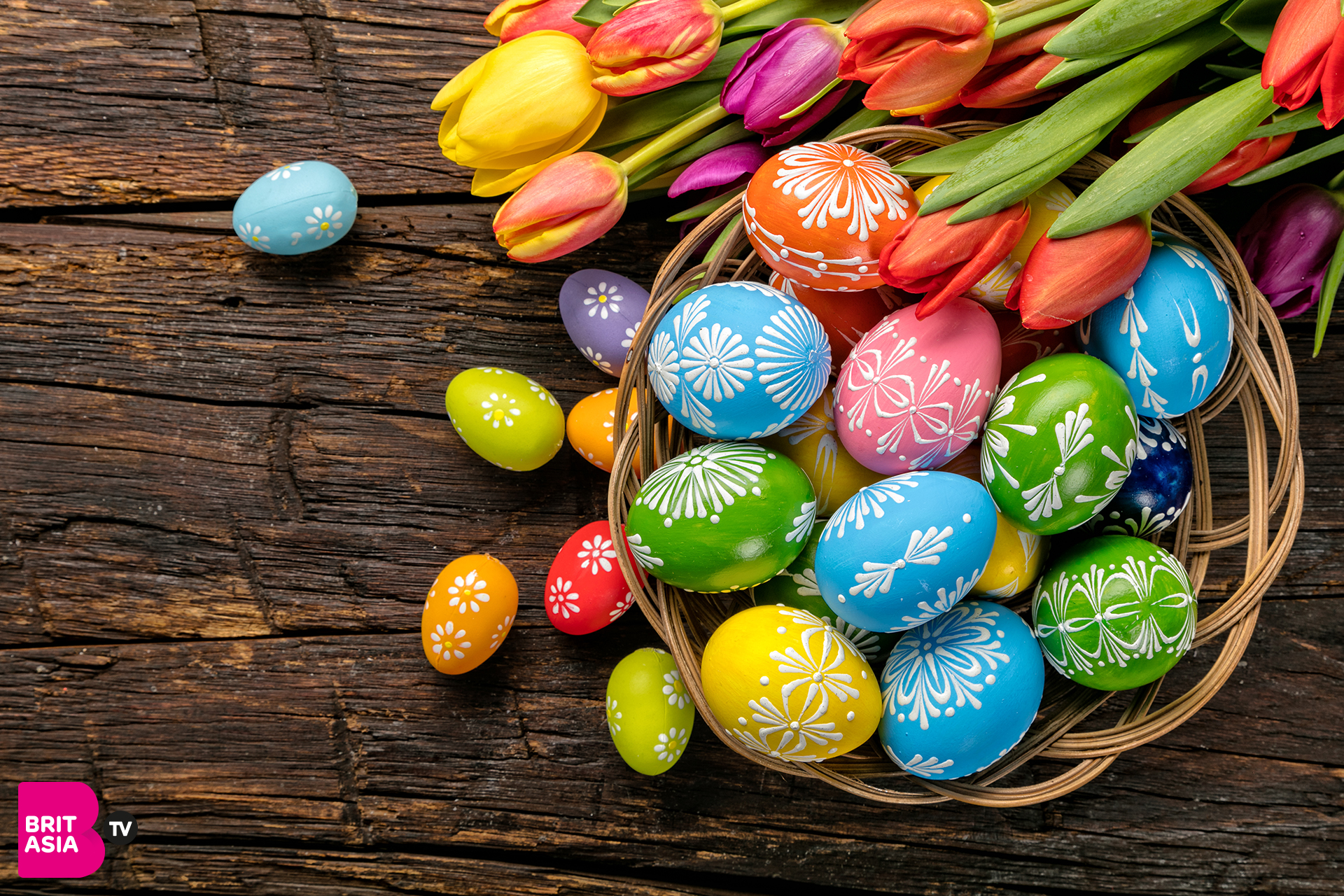 Flowers and chocolate at Easter