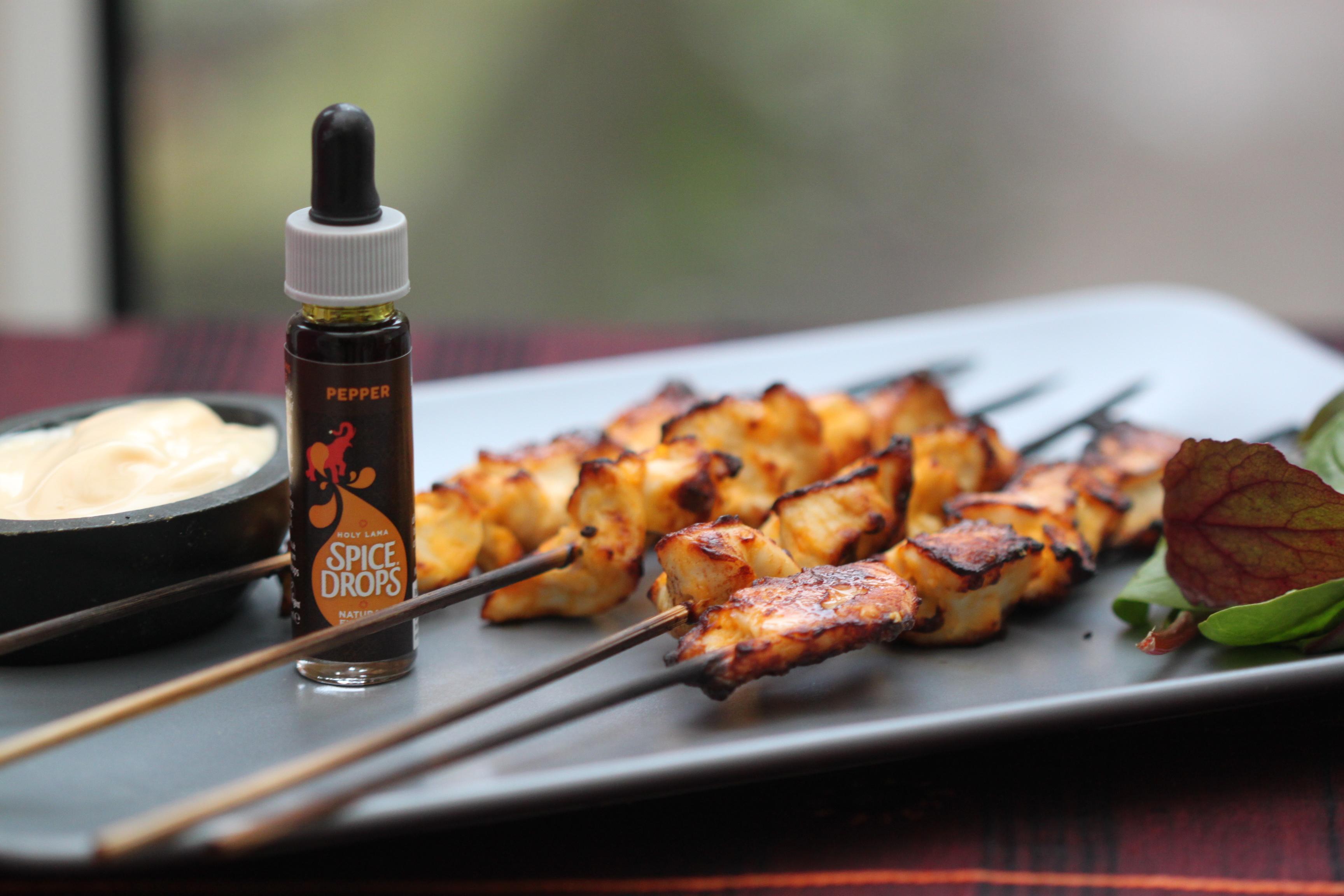 Chicken Tikka Skewers with Garlic and Chilli Mayo