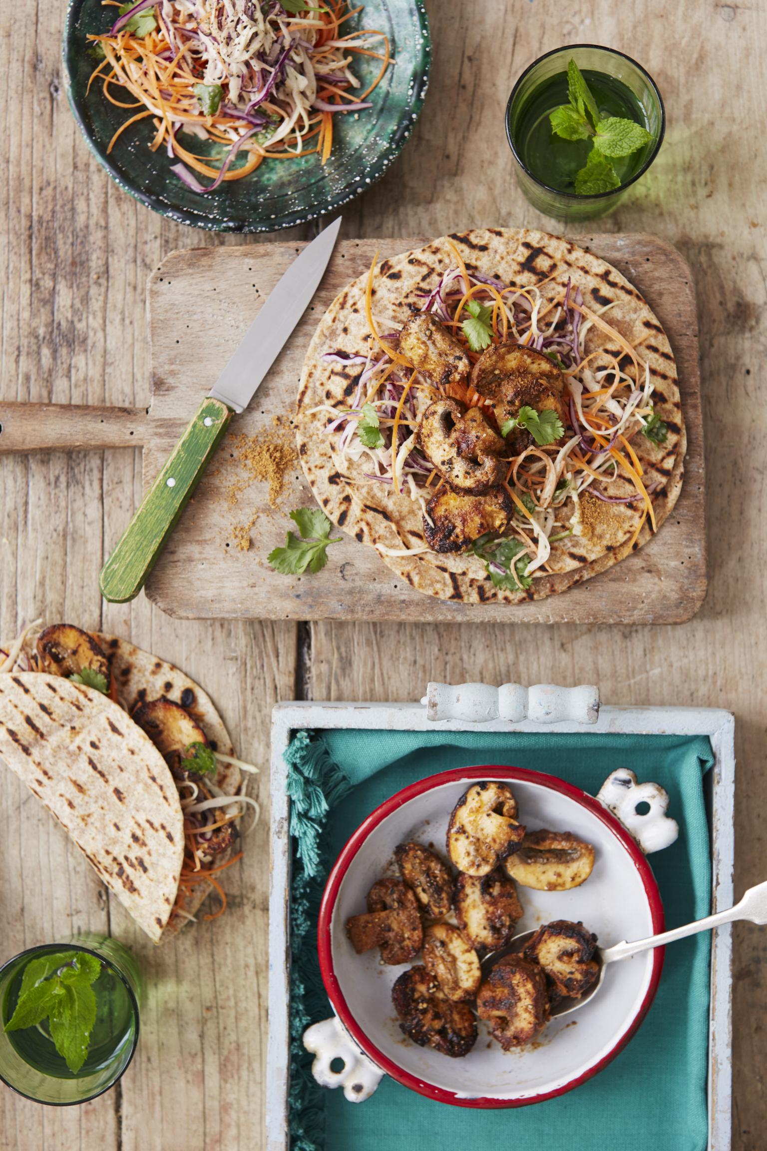Tandoori Mushroom and Coleslaw Wrap
