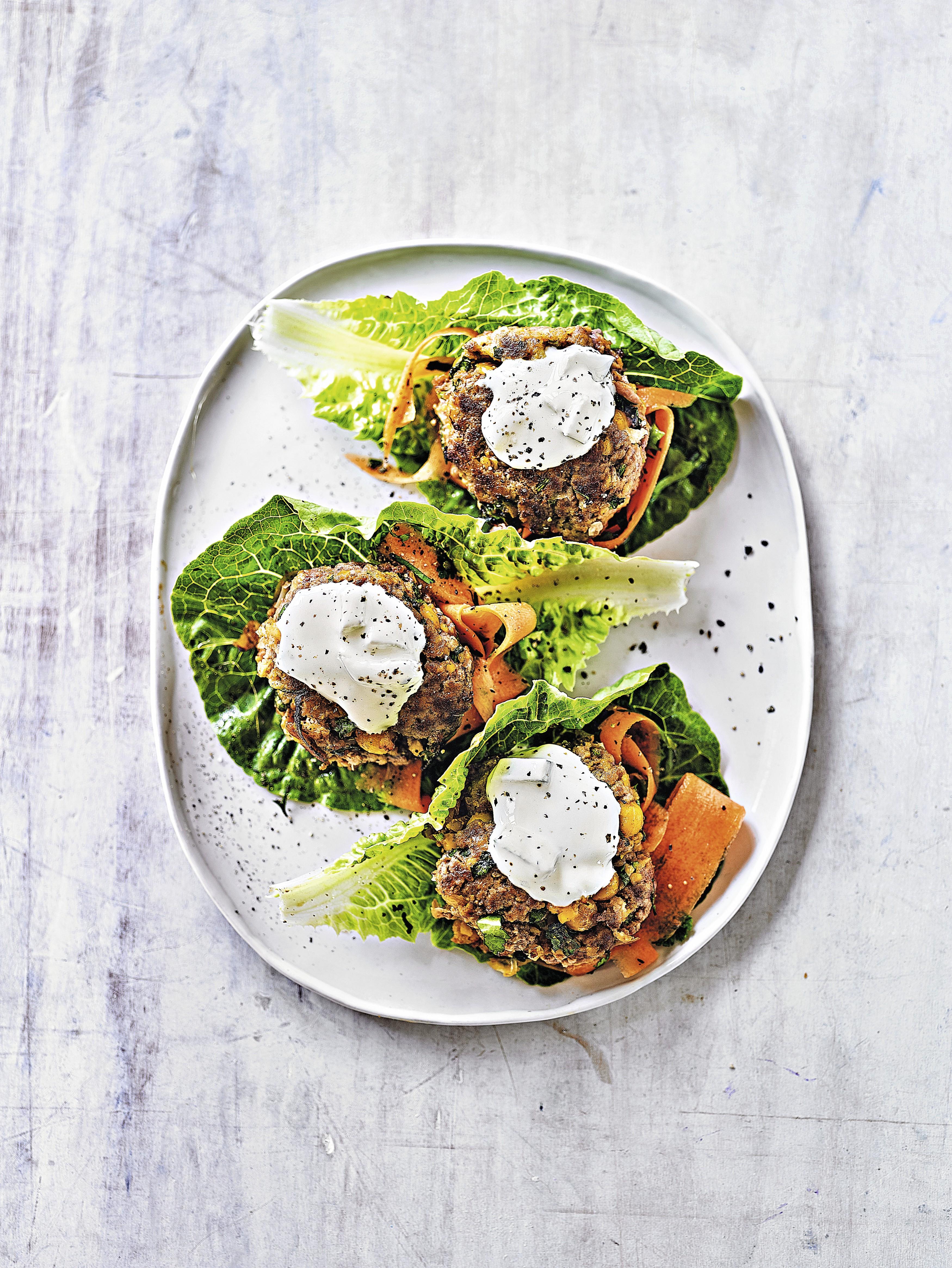 Tikka Burgers with Carrot Salad & Tzatziki