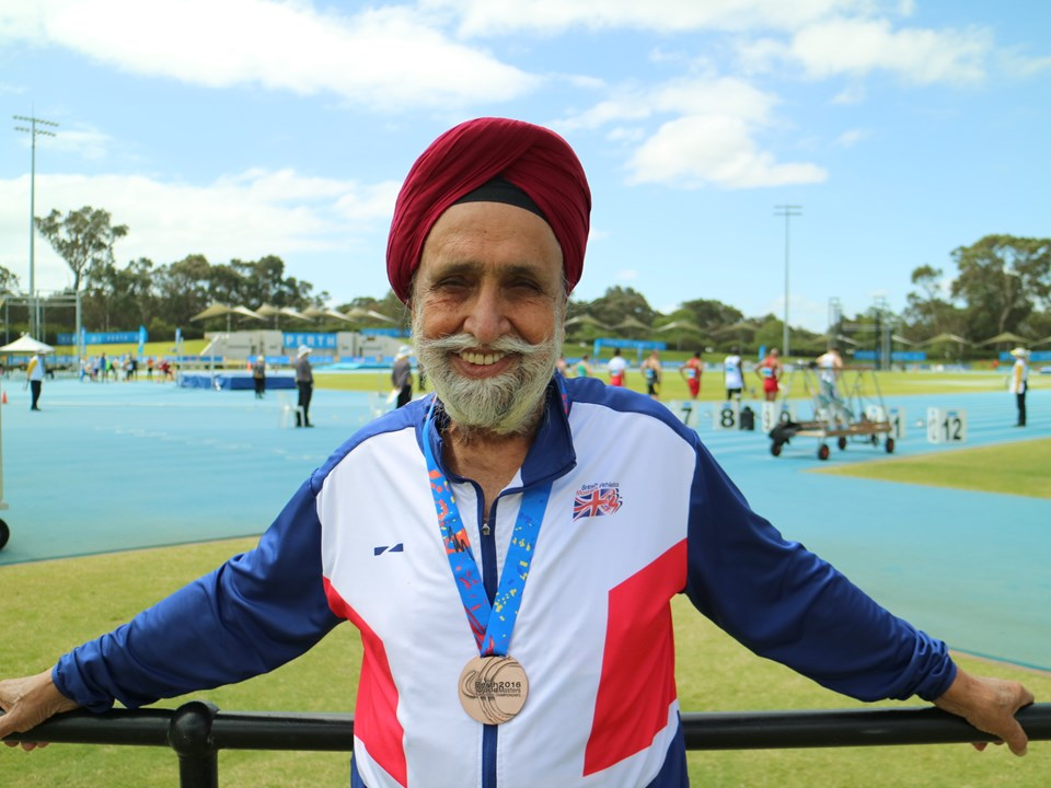 Dalbir Singh Deol with bronze medal