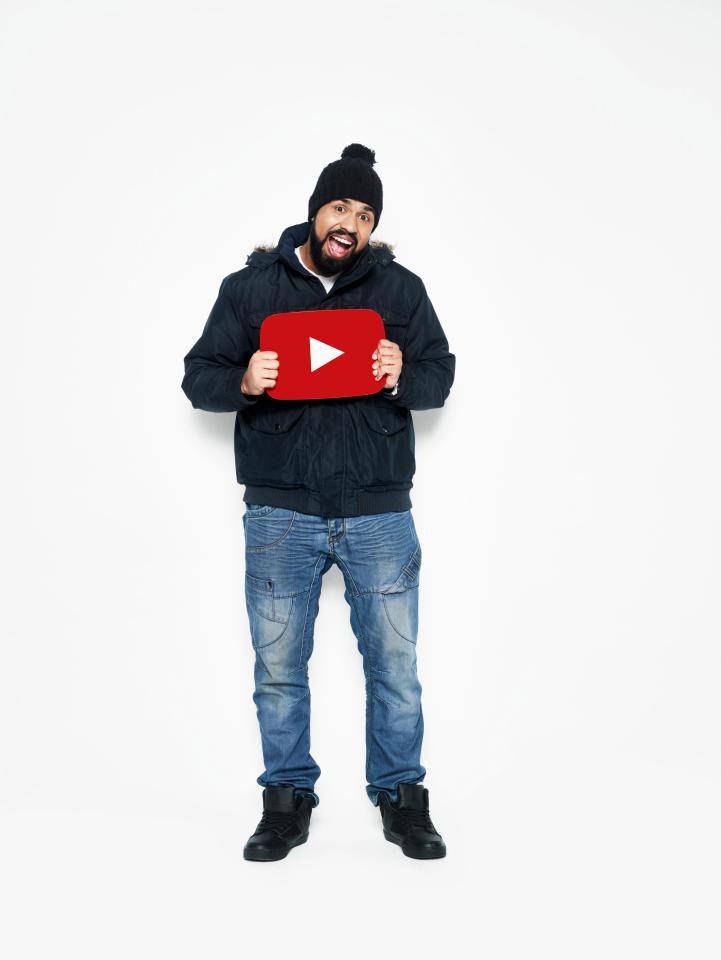 Humza with YouTube sign