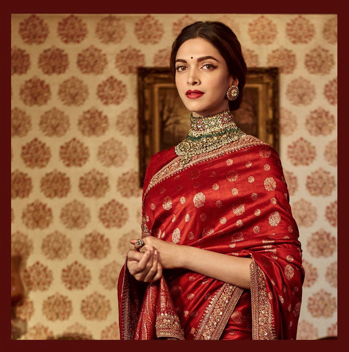 Deepika Padkone wearas 'The Sabyasachi Red'