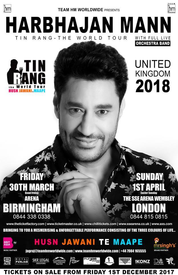 HARBHAJAN MANN SET TO TOUR THE UK