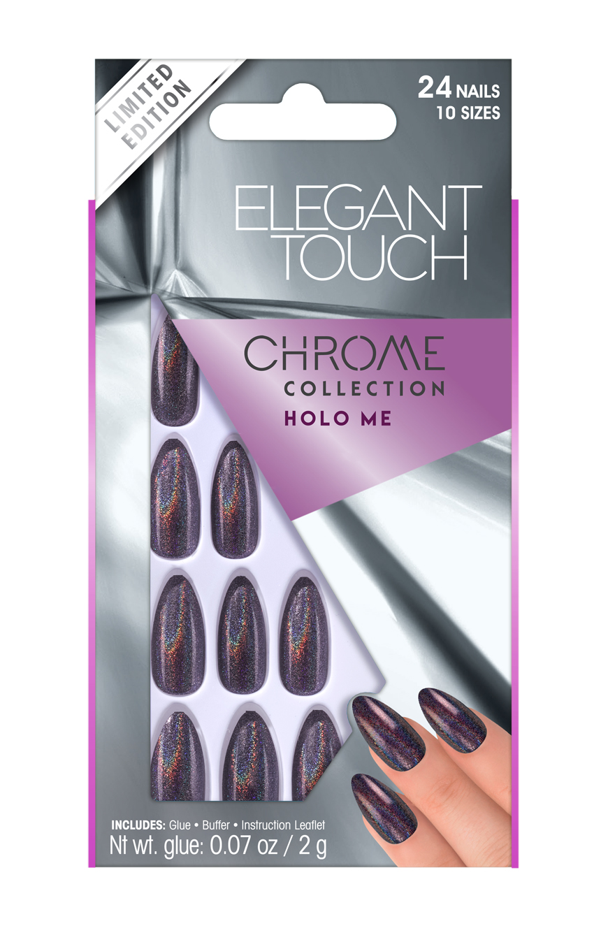 Elegant touch nails in chrome