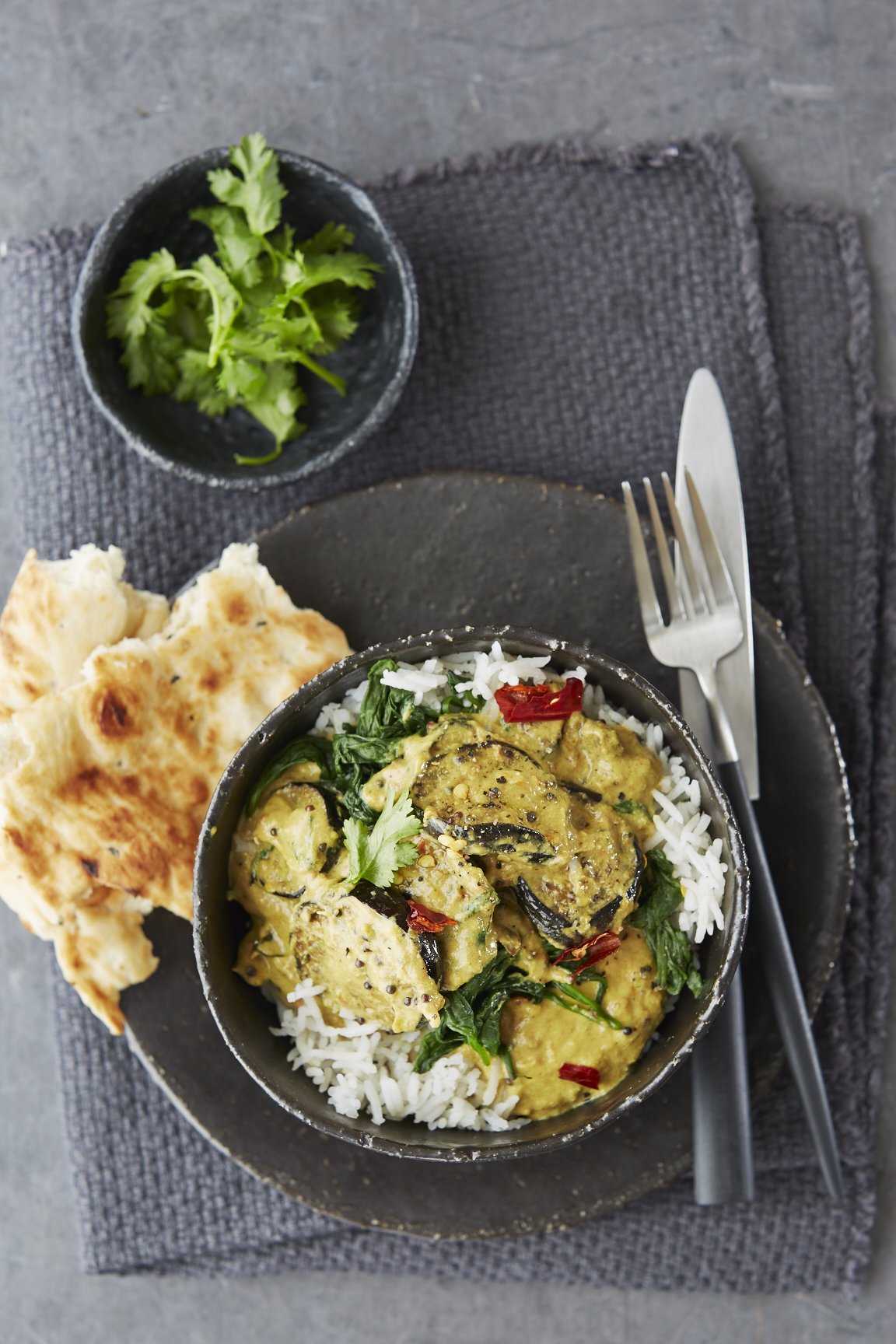 Aubergine and Spinach Coconut Curry