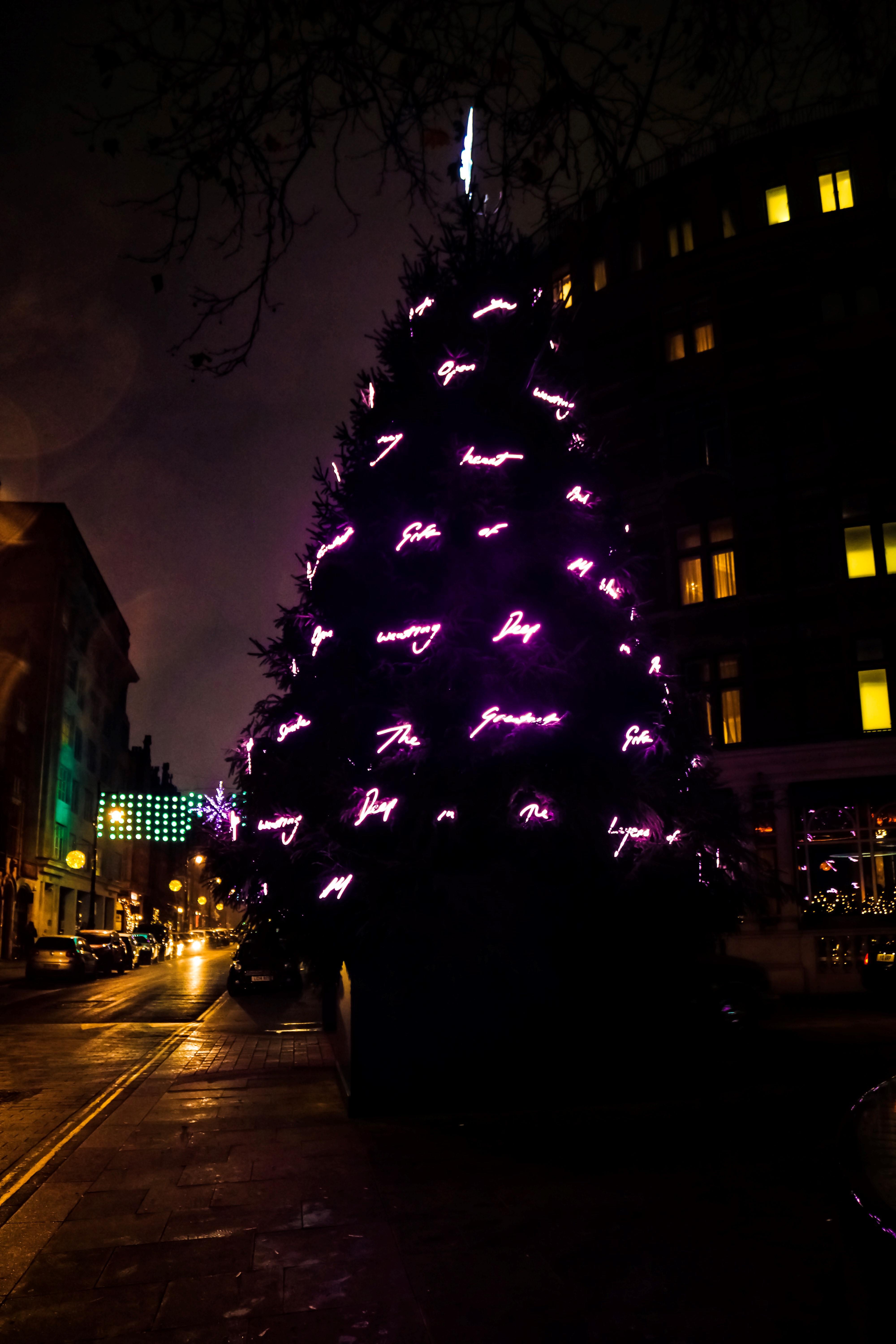 Mount Street, Mayfair and The Connaught Christmas Tree designed by Tracey Emin