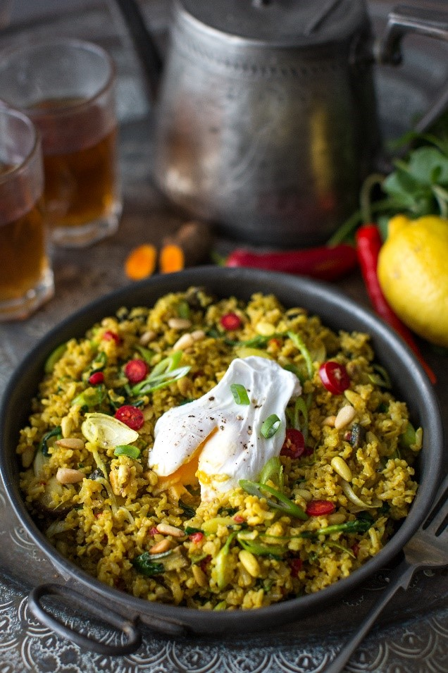 Brown Rice Pilaf with Mushrooms, Watercress and Pine Nuts