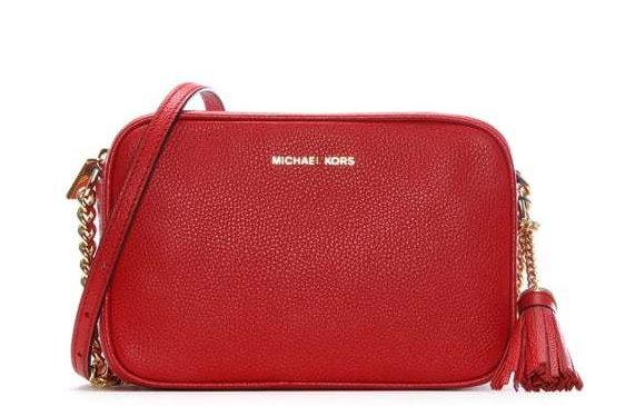 Michael Kors Ginny Bright Red Tumbled Leather Camera Bag