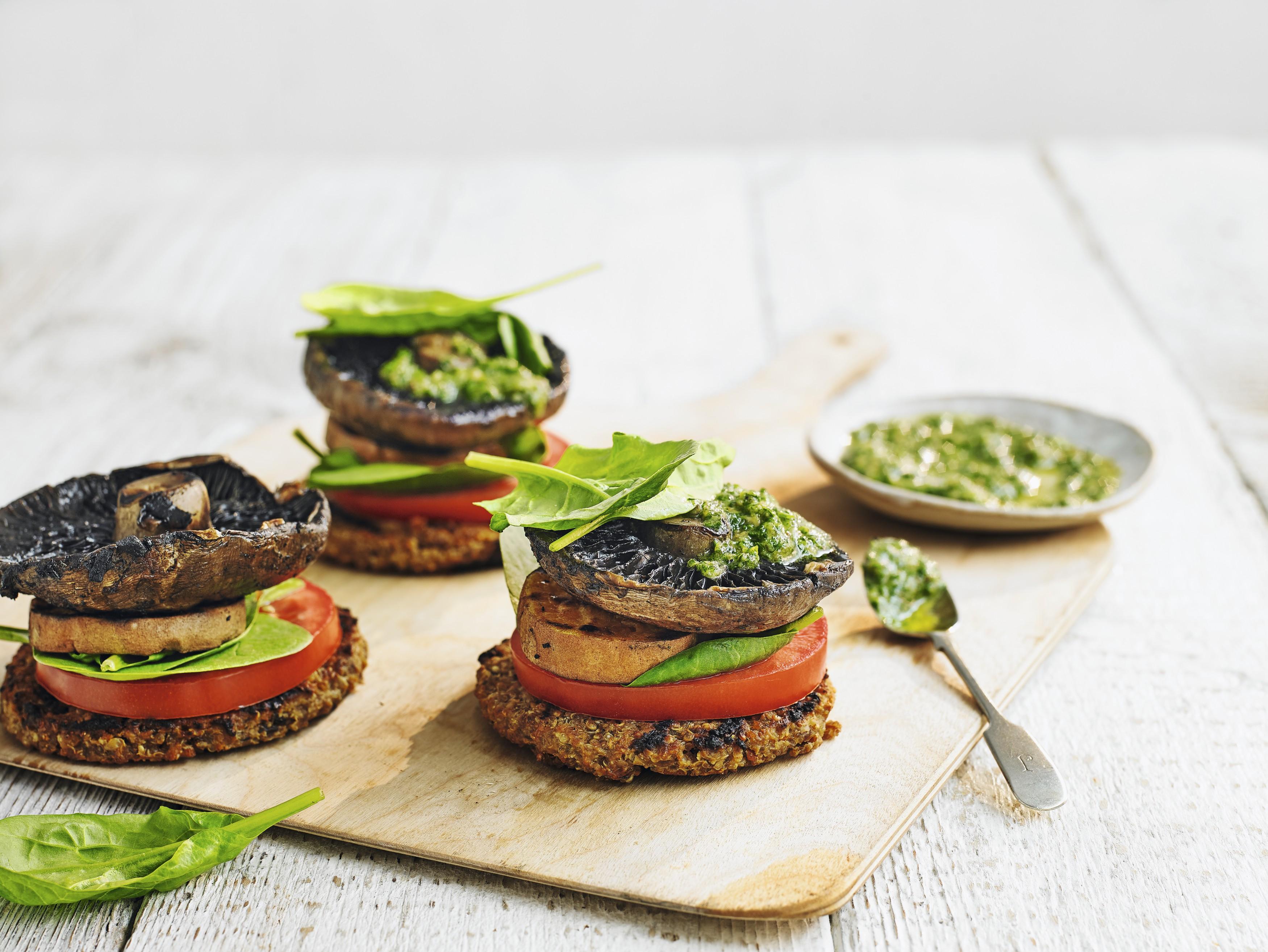 Veggie Burger Stacks with Parsley Pesto