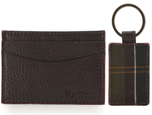 Barbour Grain Leather Card Holder & Tartan Keyring