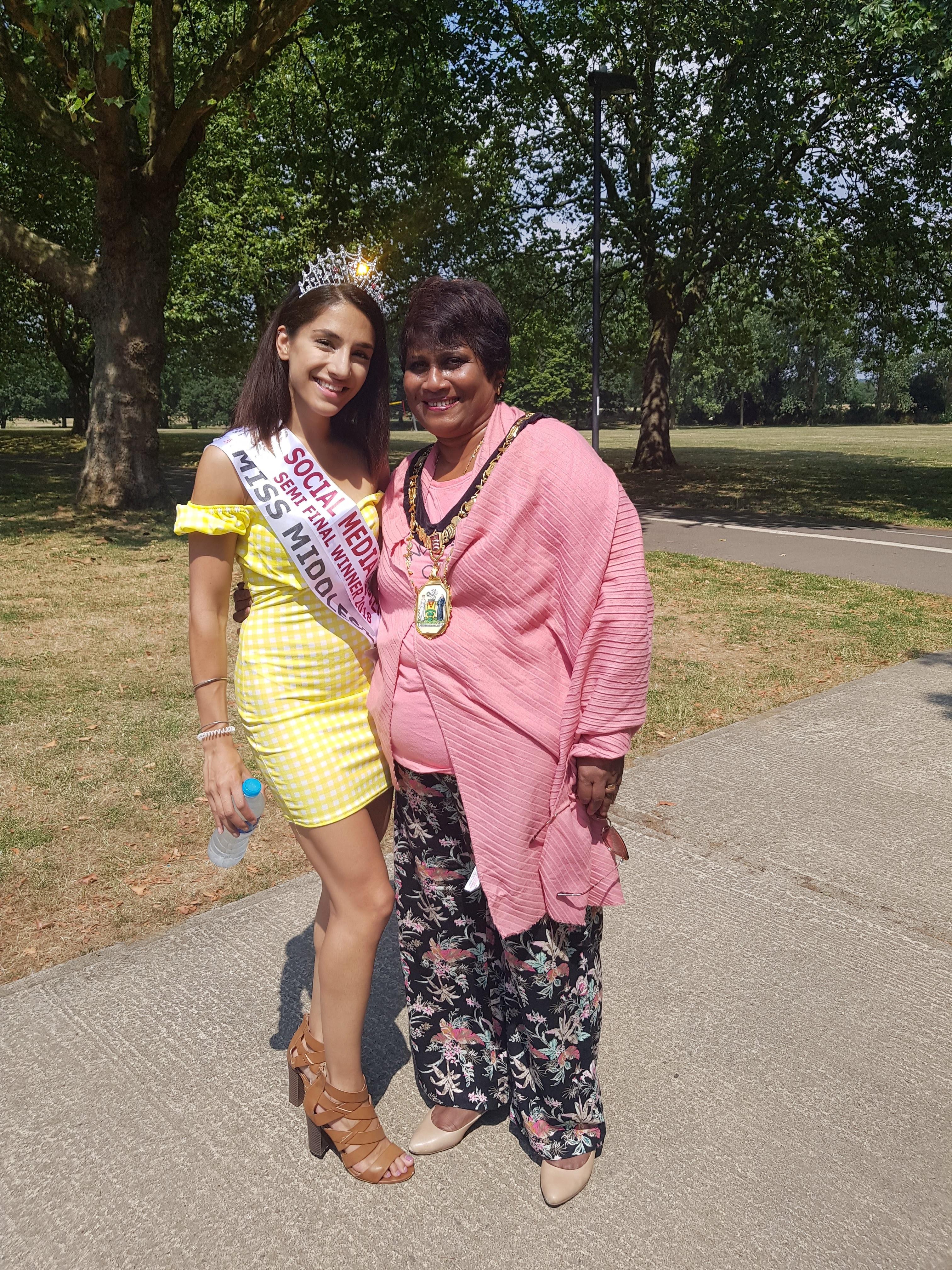 Anusha with Harrow Mayor, Kareema Marika