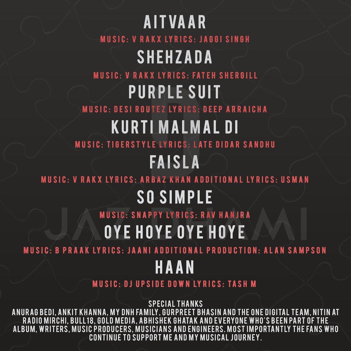 full track list of Jaz Dhami's new album