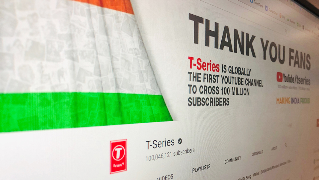 T-SERIES REACHES 100 MILLION SUBSCRIBERS ON YOUTUBE
